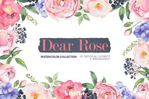 "Watercolor Clipart set ""Dear Rose"""