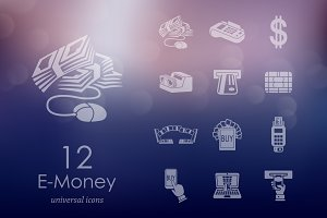 12 e-money icons