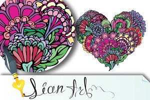 paisley ornament in heart shape