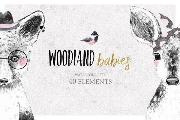 WOODLAND BABIES watercolor set