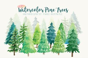 Watercolor Pine Trees Clip Art