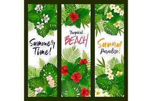 Summer time banners, tropical leaves