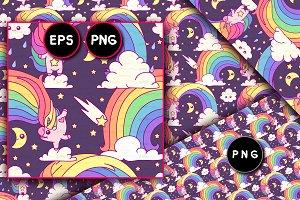 ♥ vector Unicorn seamless pattern