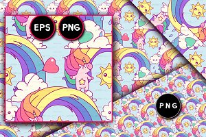 ♥ vector Unicorn seamless pattern