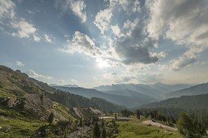 Road to Valparola mountain pass