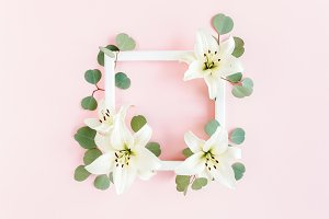 Floral frame made of white lilies