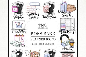 To Do Planner Task Icons Boss Babe