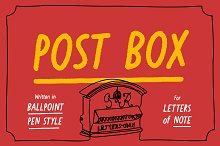 Post Box - Ballpoint Sans -50% intro by  in Script Fonts