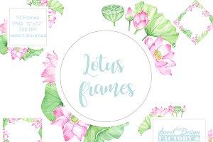 Watercolor lotus flowers frames.