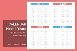 Calendar for next 4 years 2019-2022