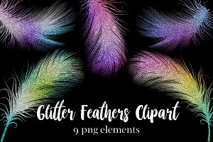 Glitter Feathers Clipart