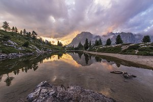 Fascinating reflections in Dolomites