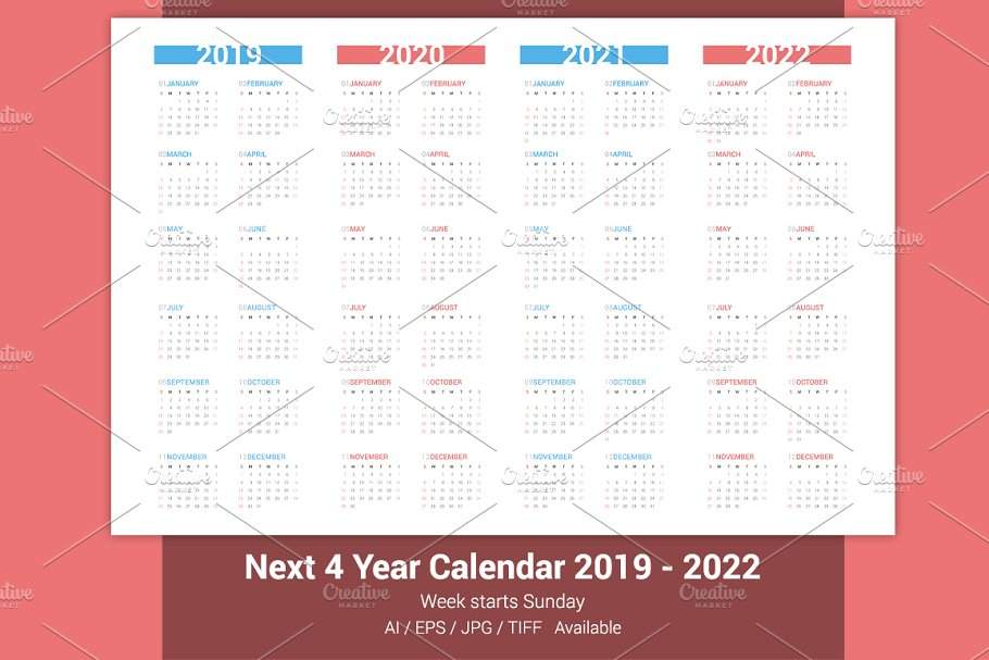 Calendar for next 4 years 2019-2022 in Stationery Templates