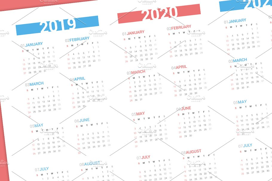 Calendar for next 4 years 2019-2022 in Stationery Templates - product preview 1