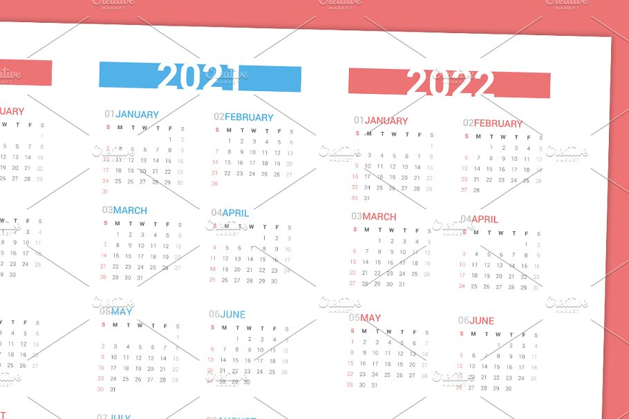 Calendar for next 4 years 2019-2022 in Stationery Templates - product preview 2