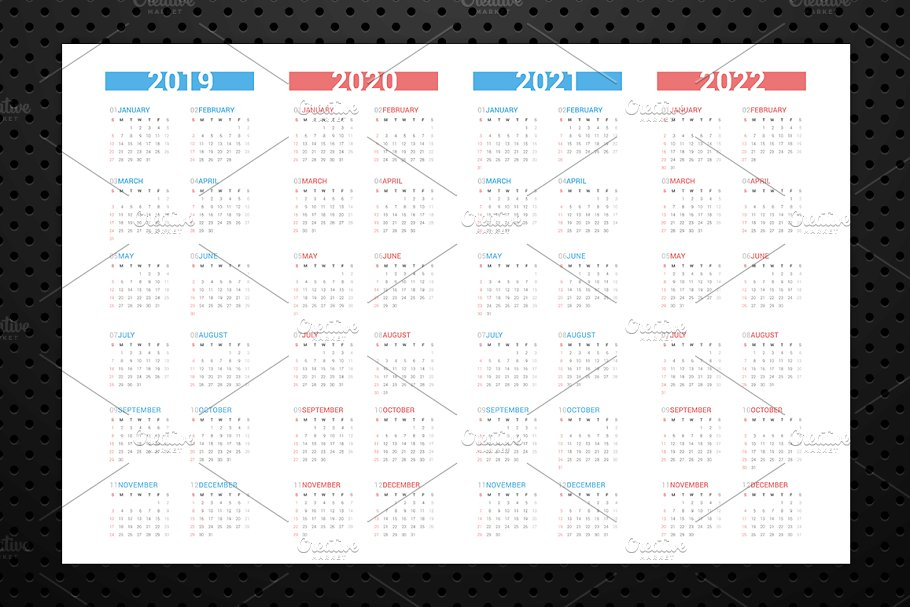 Calendar for next 4 years 2019-2022 in Stationery Templates - product preview 3