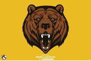 Vector Bear Head Illustration
