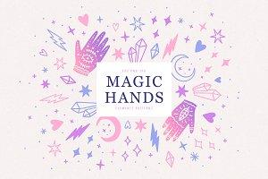 Magic hands and crystals set