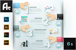 Business Hands Teamwork Infographics