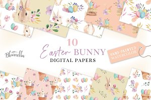 Easter Bunny Patterns Eggs Spring
