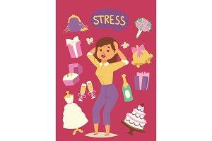 Wedding stress concept. Bride