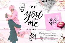 You + Me: hand drawn design kit