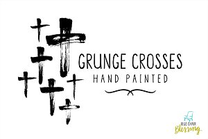 Hand painted grunge crosses