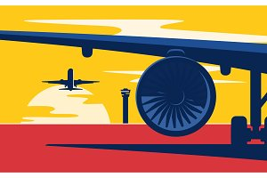 Takeoff. Flat style vector
