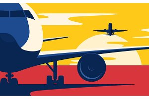 Air traffic. Flat style vector
