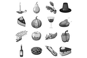 Thanksgiving icons set, gray