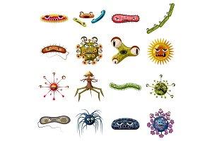 Virus bacteria faces icons set