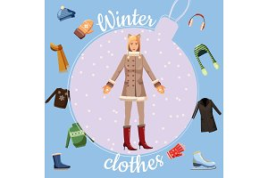 Winter clothes concept, cartoon
