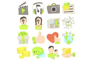 Advertisement icons set, cartoon