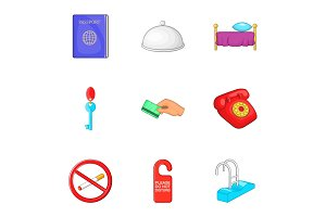 Hostel icons set, cartoon style