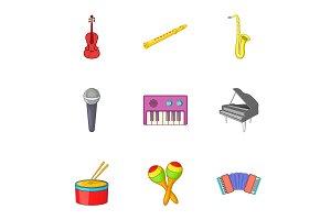 Musical device icons set, cartoon