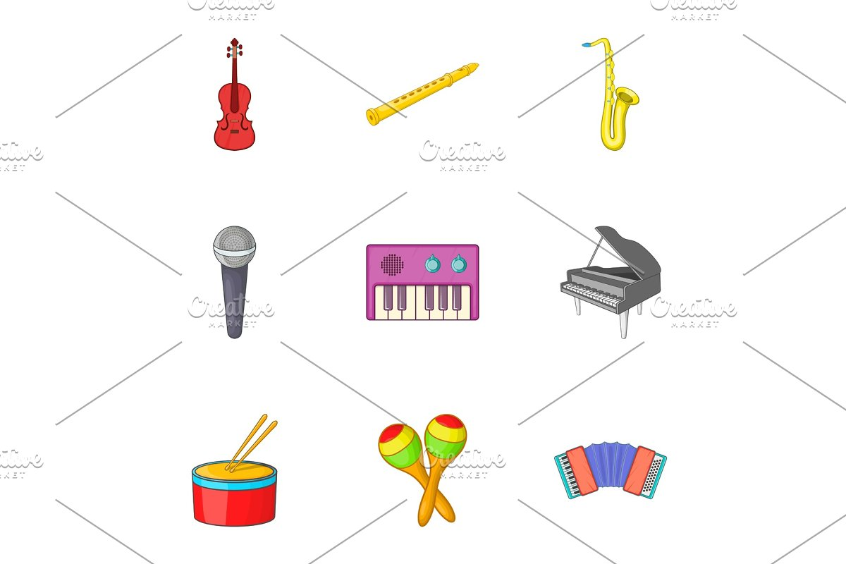 Musical device icons set, cartoon