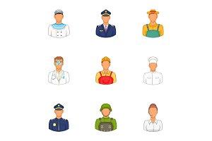 Occupation icons set, cartoon style