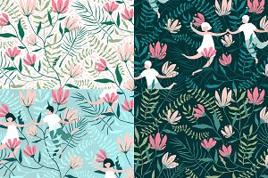 Seamless Patterns Flowers and Lovers