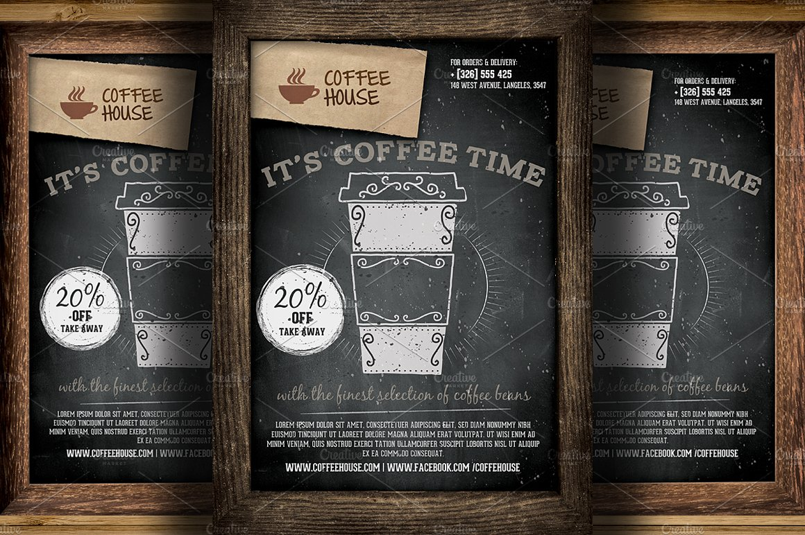 coffee shop promotion flyer template flyer templates creative market. Black Bedroom Furniture Sets. Home Design Ideas