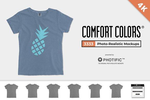 3302d3c1131cb Comfort Colors 3333 Ladies  Tee ~ Product Mockups ~ Creative Market