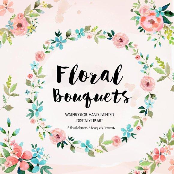floral bouquets watercolor clipart illustrations creative market