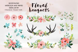 Floral bouquets - Watercolor clipart