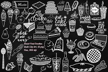 Chalk Sweet Food Doodles ClipArt