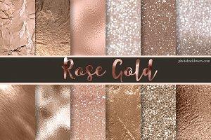 12 Rose Gold Digital Paper Textures