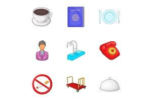 Hotel icons set, cartoon style