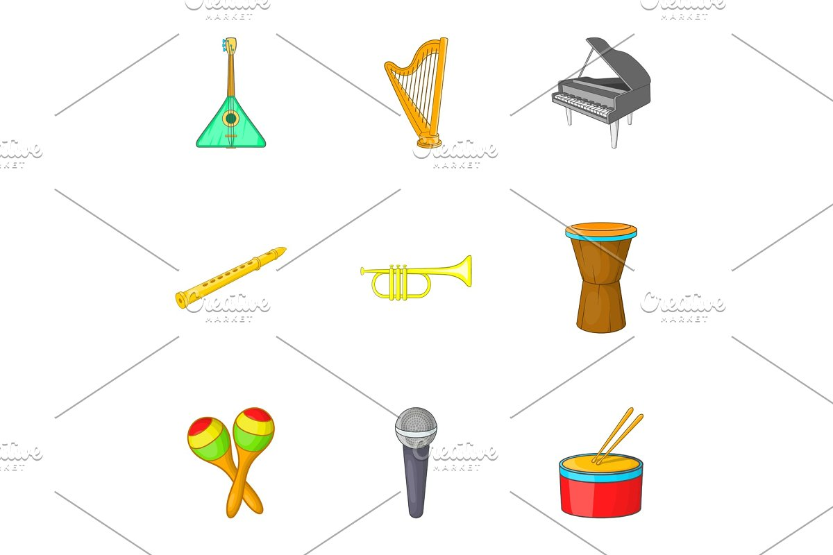 Device for music icons set, cartoon