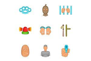 Lawlessness icons set, cartoon style