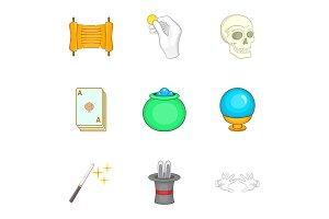 Magic icons set, cartoon style
