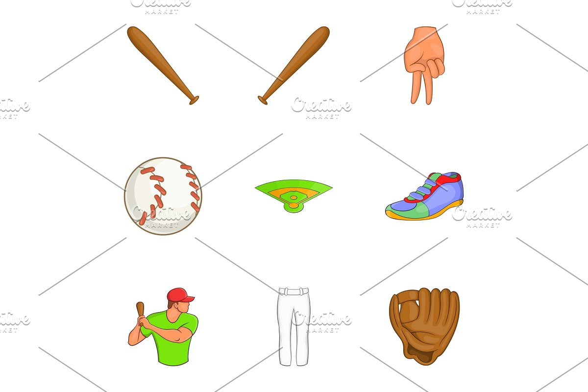 Game with bat icons set, cartoon