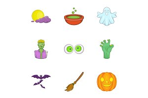 All hallows evening icons set